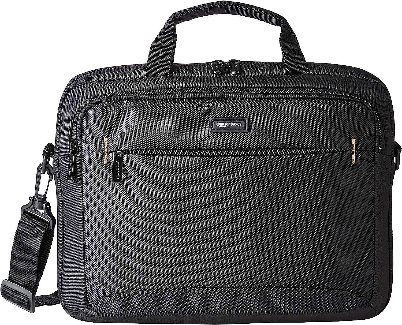 Amazon Basics 14-Inch Laptop Macbook and Tablet Shoulder Bag Carrying Case, Black, 1-Pack