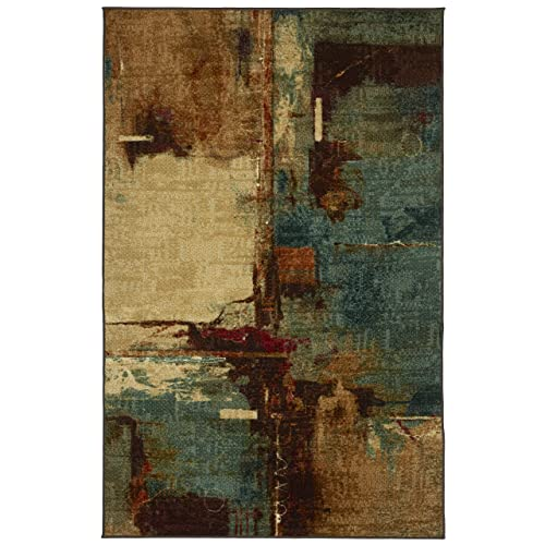 Mohawk Home Strata Aqua Fusion Abstract Printed Area Rug, 5 x8 , Aqua Blue