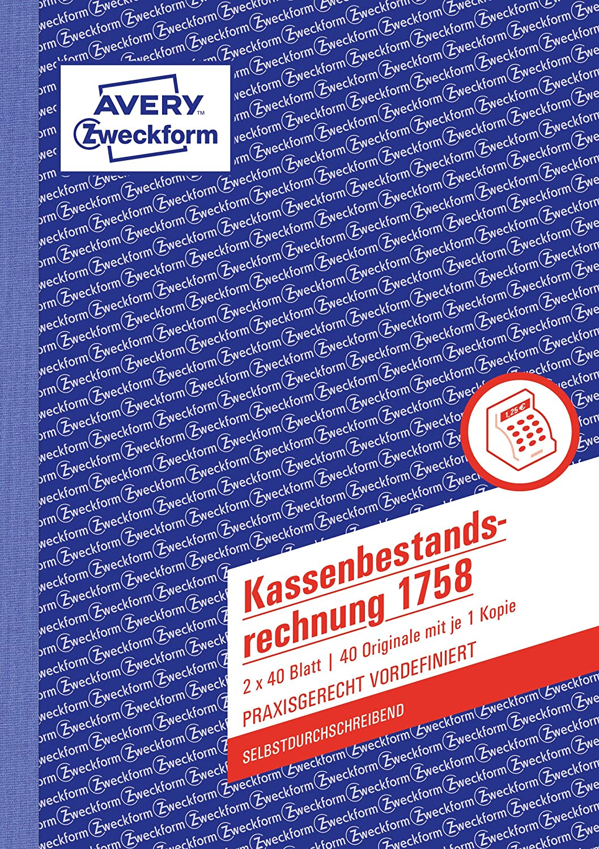 AVERY Zweckform A4 A5 Kassenbuch 426 Kassenbericht 305 318 Kasse 427 317 1758