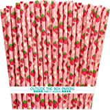 Strawberry Pattern Paper Straws - Pink Red Green - 7.75 Inches - 75 Pack