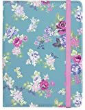 Caseit Universal Folio Flip Case Cover with Closing Strap for  6-8 Inch Tablets such as iPad Mini, Google Nexus 7, Samsung Galaxy Tab 2/3/4 and Kindle Fire HD/HDX 7.0 - Green/Blue Floral