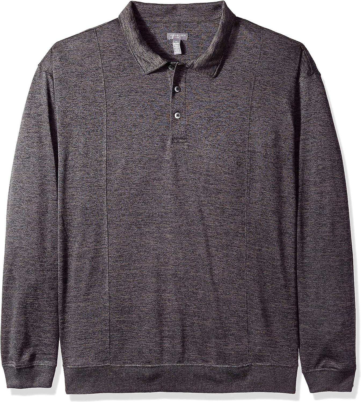Van Heusen Mens Big and Tall Long Sleeve Flex Sweater Fleece Melange Polo