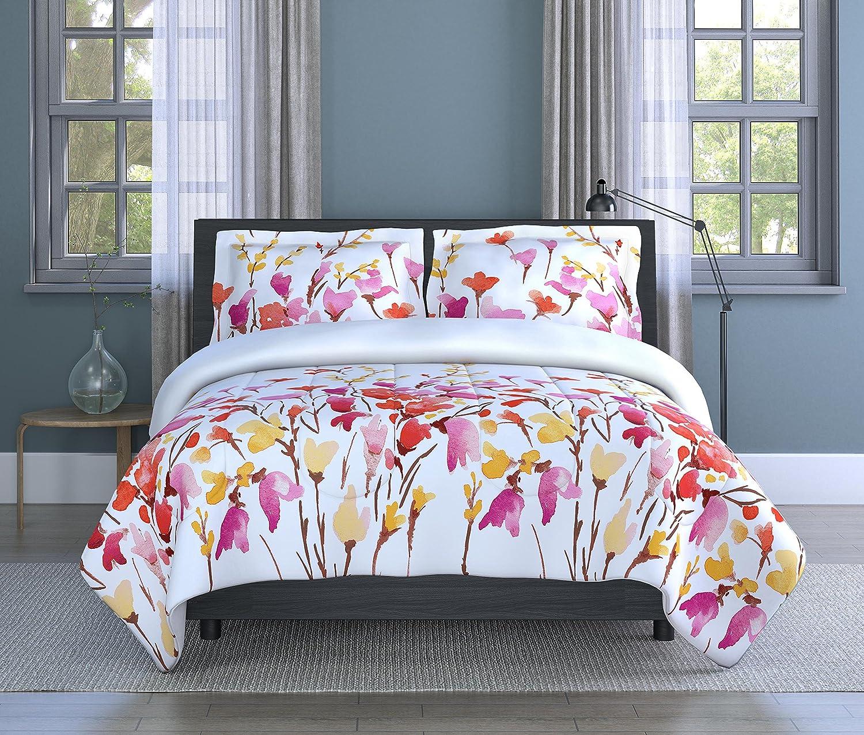 Inspired Surroundings Orange/Multi, Comforter Set Flower, Twin, Orange/Multicolor