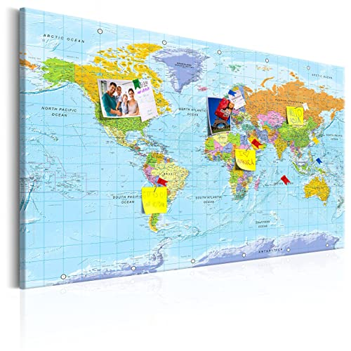 Extra large world map canvas with beech wood rails not ikea murando world map with pinboard xxl120x80 cm print on canvas beaverboard gumiabroncs Image collections