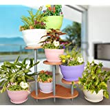 Livewell Green Elegant Indoor Flower Pot Corner Stand 28.5 Inch Tall; Red Beech Color