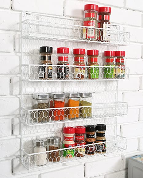 4 Tier White Country Rustic Chicken Wire Pantry, Cabinet Or Wall Mounted  Spice Rack Storage