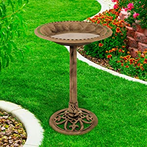 Pure Garden 50-LG1074 Antique Bird Bath-Weather Resistant Resin Birdbath with Vintage Scroll Design, 3 Ground Stakes for Garden, Outdoor Decor (Bronze)
