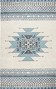 Rizzy Home Collection Wool Area Rug, 5' x 8', Blue/Ivory Southwest/Tribal