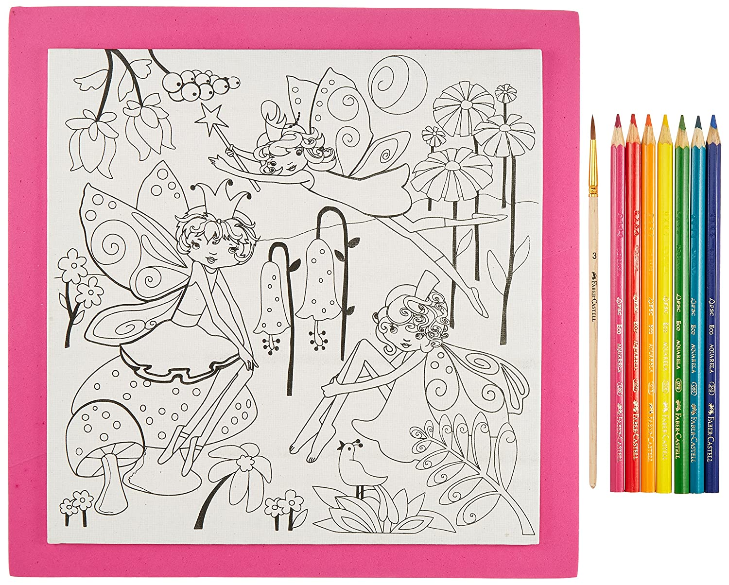 Kids Watercolor Art Kit Faber Castell 14548 Faber-Castell Young Artist Paint By Number Kit Fairy Garden