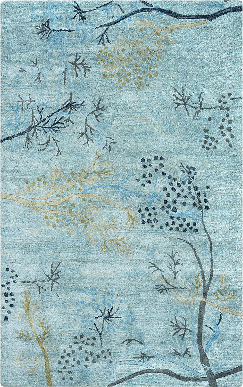 Rizzy Home Craft Collection Wool Area Rug, 5' x 8', Blue/Gray/Rust/Blue Floral
