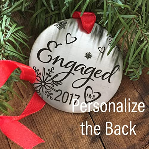 Amazon.com: Personalized Engaged 2017 Christmas Ornament Holiday ...
