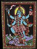 "Huge Cotton Fabric Goddess Kali 43"" X 30"" Tapestry"