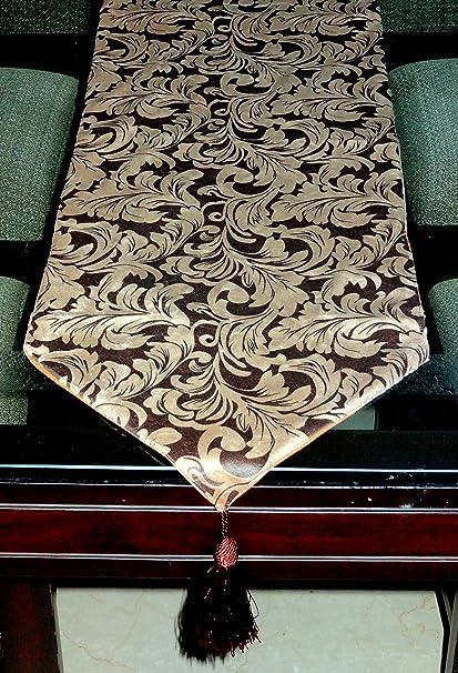 Decorika Pretty Velvet Printed Table & Bed Runner - Brown