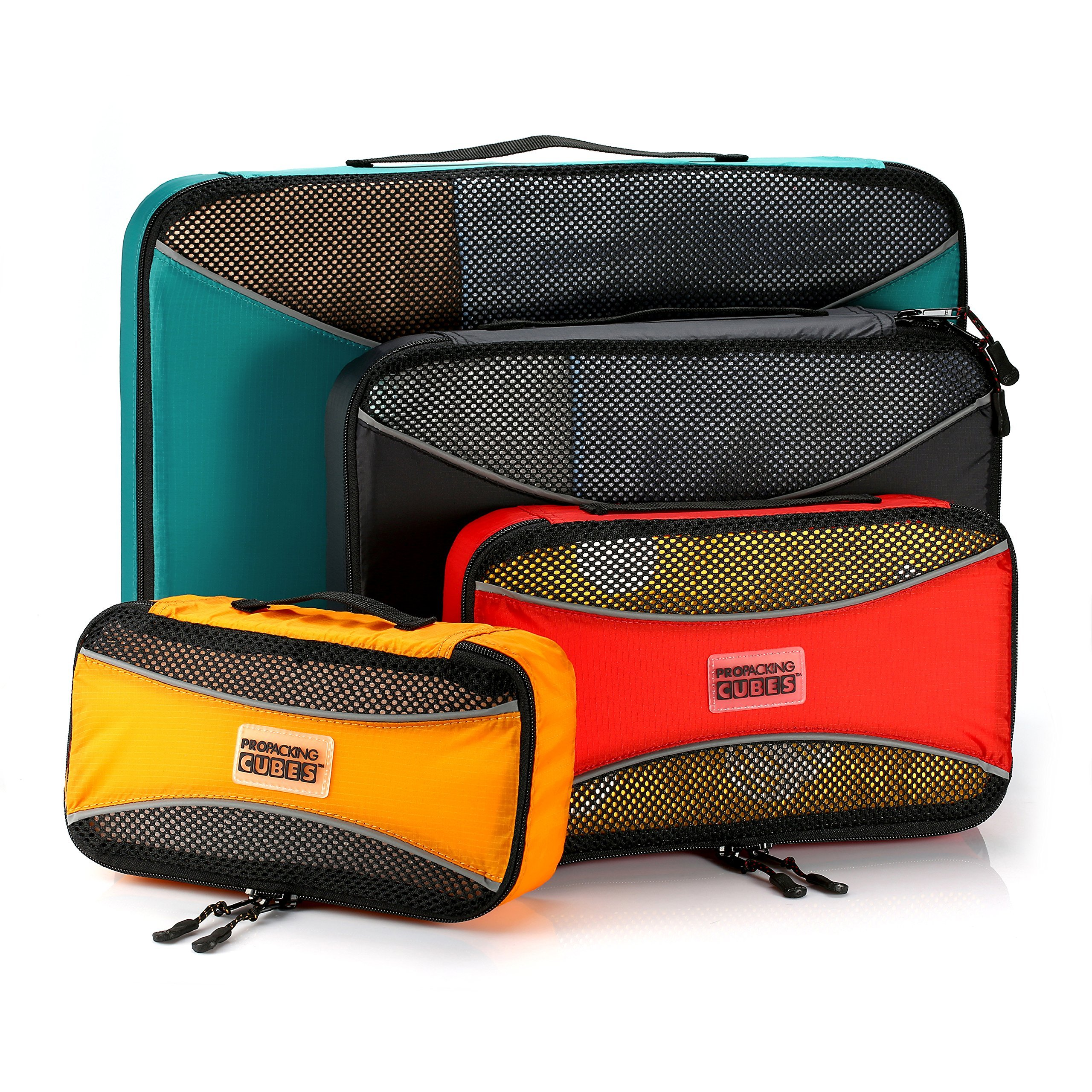 PRO Packing Cubes  Lightweight Travel - Packing for Carry-on Luggage, Suitcase and Backpacking Accessories Set, Mixed Colors - 4 Piece