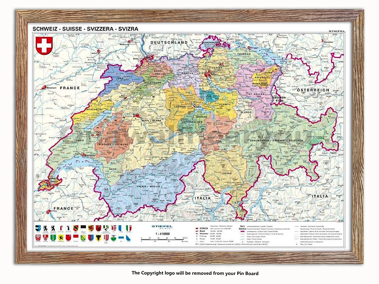 Laminated Posters Framed - Map Of Switzerland - Push Pin Memo Notice Board - White Driftwood Effect - Matt Finish - Measures 96.5 x 66 cms (38 x 26 Inches - Approx)