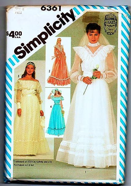 Amazon.com: Simplicity 6361 Sew Pattern, Gunne Sax Jessica ...