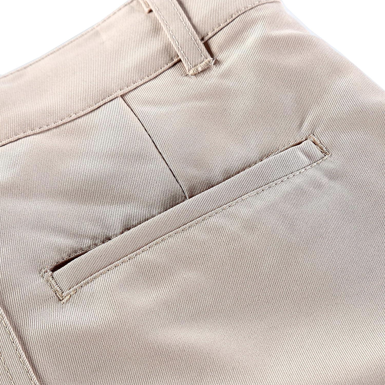 Bienzoe Boys School Uniforms Durable Teflon Adjust Waist Dress Pants
