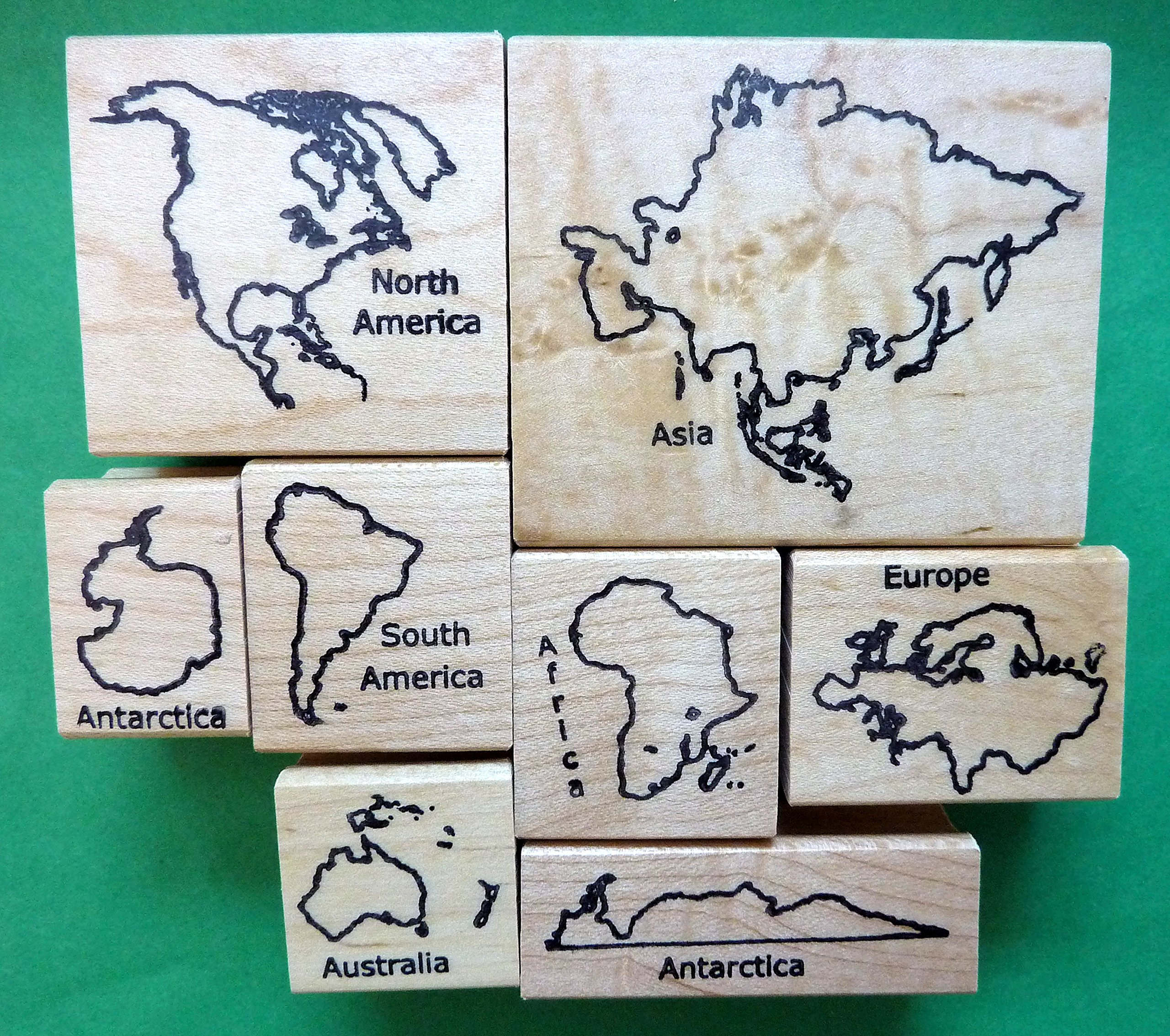 Deluxe Continents Rubber Stamp Set with Names