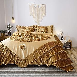 Tache 6 Piece Golden Caramel Latte Faux Satin Sateen Comforter Quilt Set, Queen