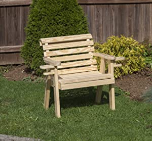 Amish Heavy Duty 800 Lb Roll Back Pressure Treated Garden Patio Outdoor Bench Chair 2 FEET with Cup Holders Natural-Made in USA