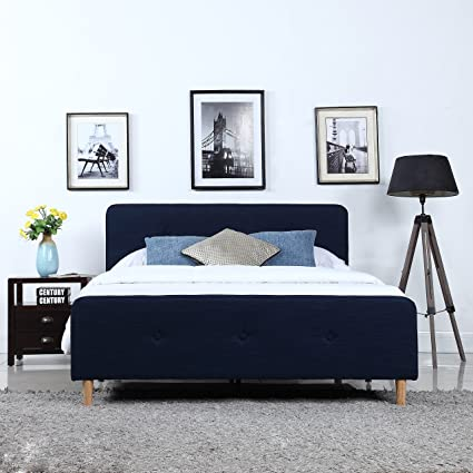 Divano Roma Furniture Mid Century Modern Linen Fabric Low Profile Bed Frame  (Twin, Blue