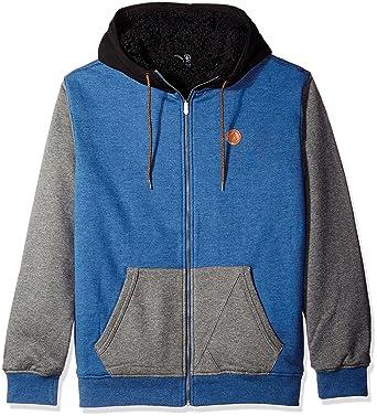 Volcom Men's Single Stone Lined Zip Hoodie, Smokey Blue, X-Large