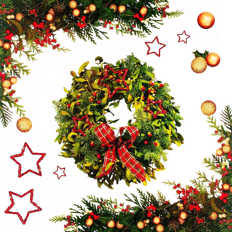 alles-meine.de GmbH 11 TLG. Set _ XXL Fensterbilder -  Weihnachten / Adventskranz - Weihnachtskranz  - incl. Name - statisch haftend - selbstklebend + wiederverwendbar / Weihna..