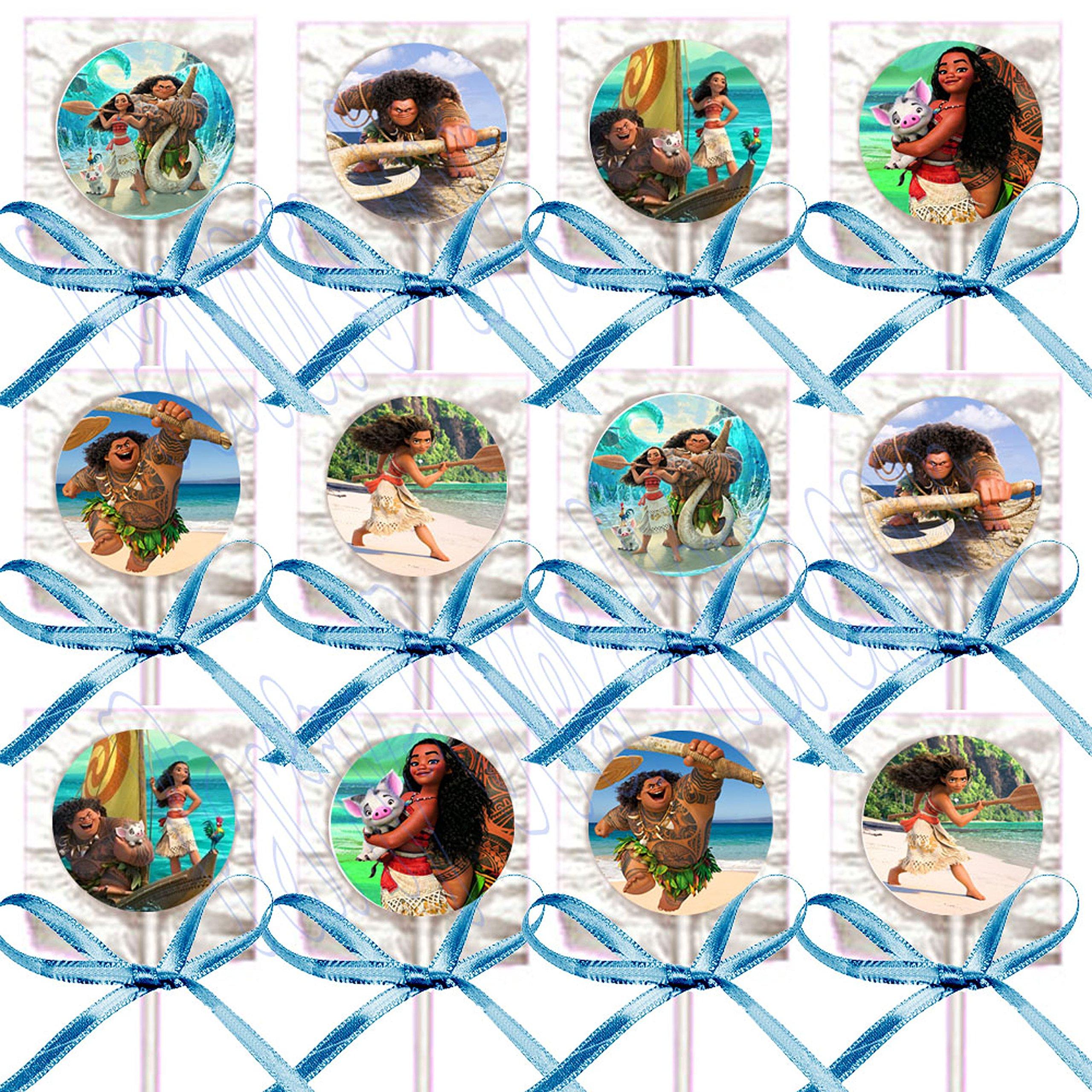 Moana Party Favors Supplies Decorations Disney Movie Lollipops w/ Turquoise Blue Ribbon Bows Party Favors -12 pcs
