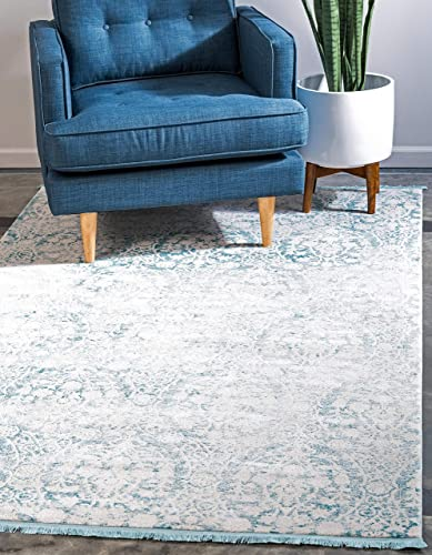 Unique Loom New Classical Collection Traditional Distressed Vintage Classic Light Blue Area Rug 10 0 x 13 0