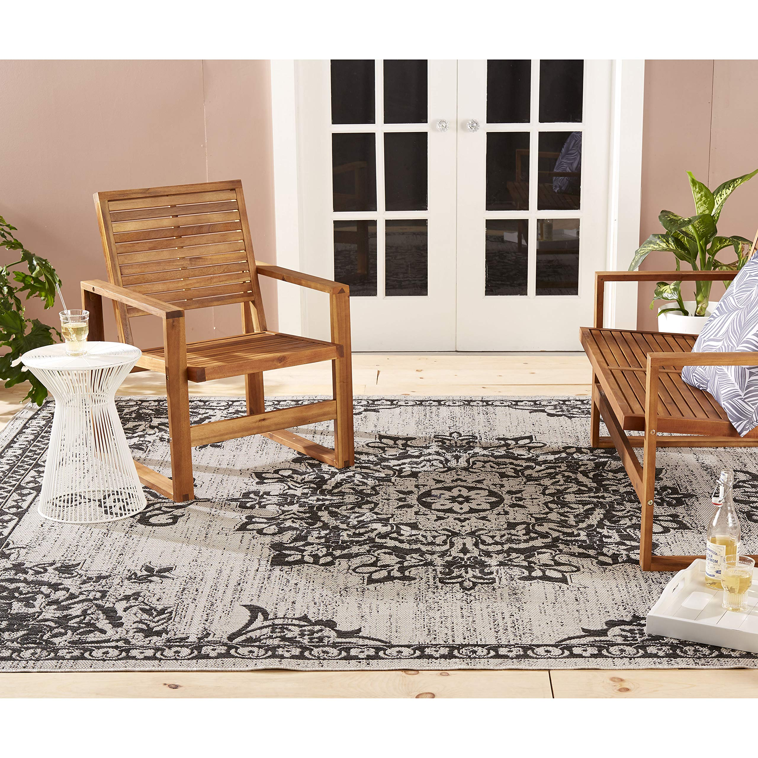 Home Dynamix Nicole Miller Patio Country Azalea Indoor/Outdoor Area Rug 7'9''x10'2'', Traditional Medallion Gray/Black by Home Dynamix (Image #1)