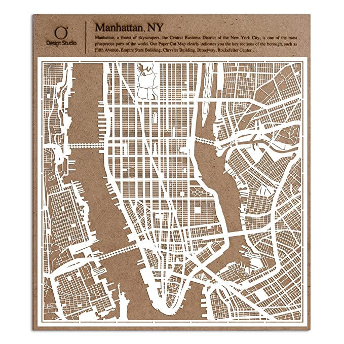 Map Of New York Rockefeller Center.Manhattan Ny Paper Cut Map By O3 Design Studio White 12x12 Inches Paper Art