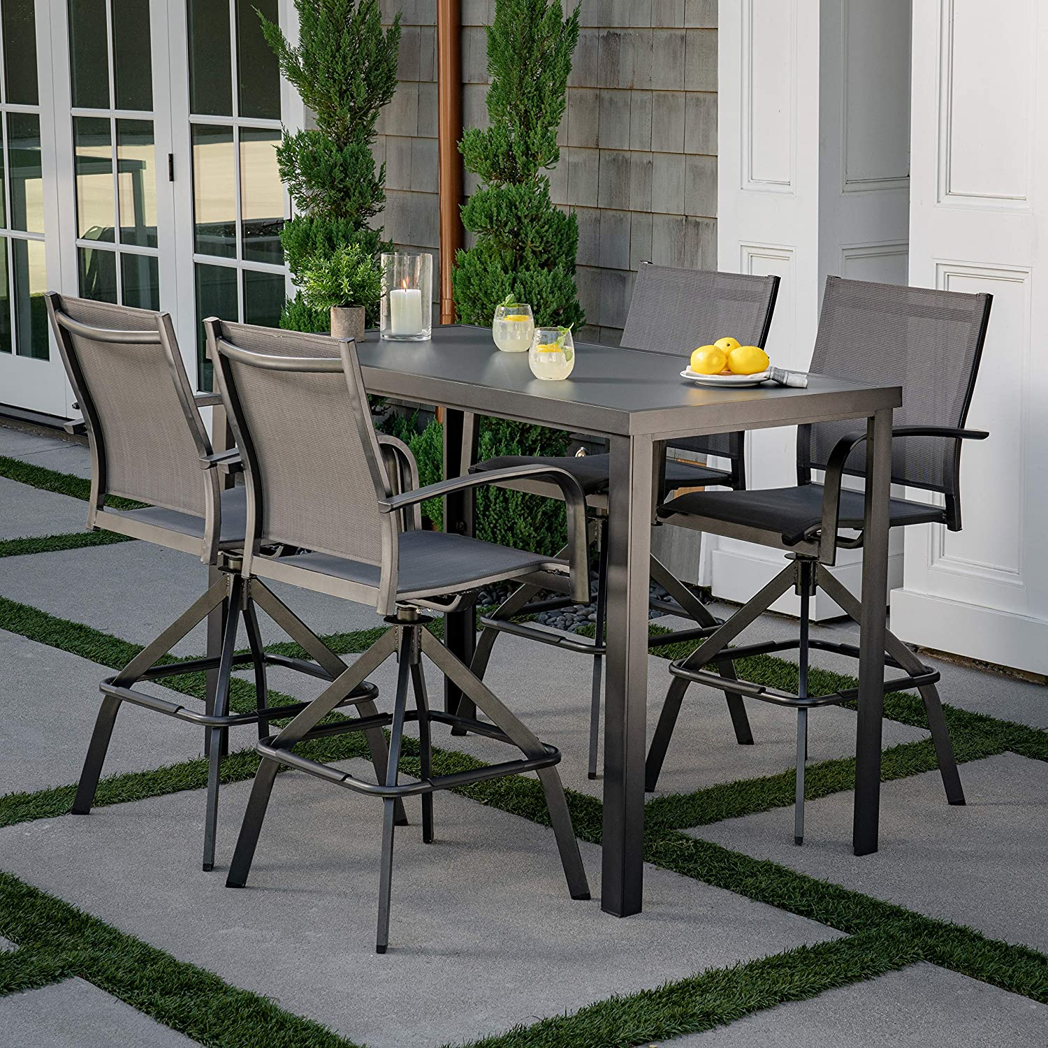 hanover naples 5 piece high dining set with 4 swivel chairs and a glass top bar table gray napdn5pcbr gry outdoor furniture