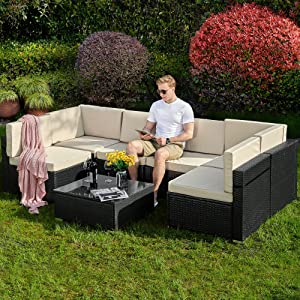 YITAHOME 7 Pieces Patio Furniture Set, Outdoor Sectional Sofa PE Rattan Wicker Conversation Set with Table and Cushions for Porch Lawn Garden, Black