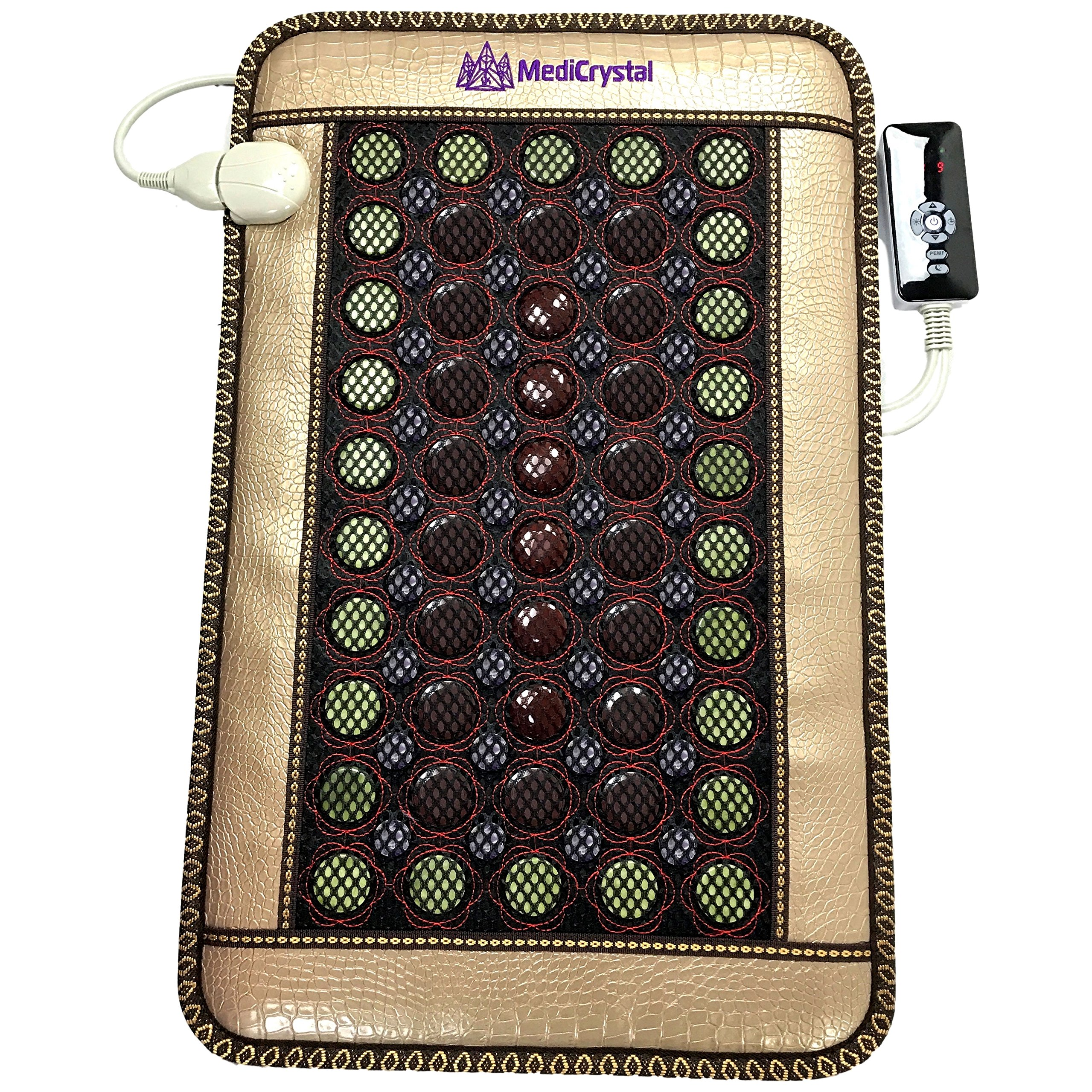4 Gems FIR Bio Magnetic Mat - Natural Hot Stones - Amethyst Jade Tourmaline Agate - - Far InfraRed Heating Pad - 10Hz PEMF - Negative Ion - FDA Registered Manufacturer (Mini 32''L x 20''W) by MediCrystal (Image #2)