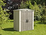 Keter Factor 6x3 Large Resin Outdoor Shed for Patio Furniture, Lawn Mower, and Bike Storage, Taupe/Brown