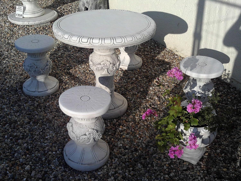 Gartenmöbel Tisch mit 4 Hocker aus Steinguss, frostfest