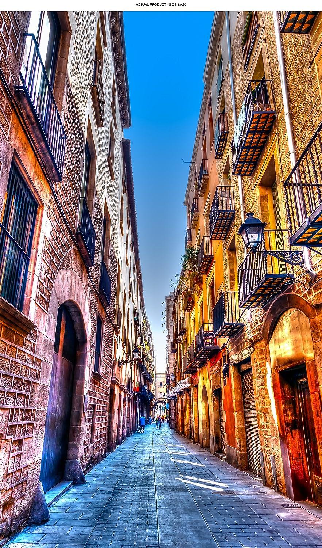 WindowPix 省エネウィンドウフィルム バルセロナの狭い路地剥がして貼るだけ 静電気防止 UV保護 ウィンドウガラスパネル用クリアフィルム印刷 1037 24 by 30