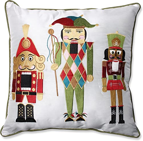 Pillow Perfect Holiday Embroidered Nutcrackers Throw Pillow, 16.5-Inch, Red Green