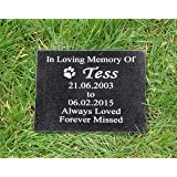 Personalised Engraved Natural Granite Pet Dog or Cat Memorial Plaque Grave Marker 20 x 15cm