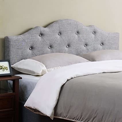6fef7f081fb6 Amazon.com - Mainstays Upholstered Tufted Rounded Headboard