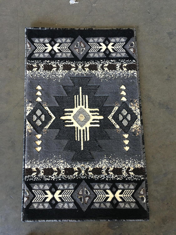 Concord Global Trading Southwest Native American Doorway Mat Area Rug Grey & Black Design C318 (2 feet X 3 feet 4inches)