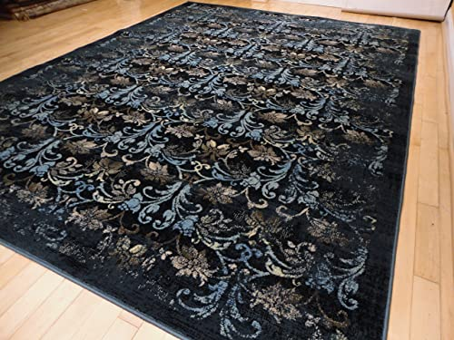 Premium Soft Vintage Black Contemporary Rugs For Living Room, Large 8×11 Carpet