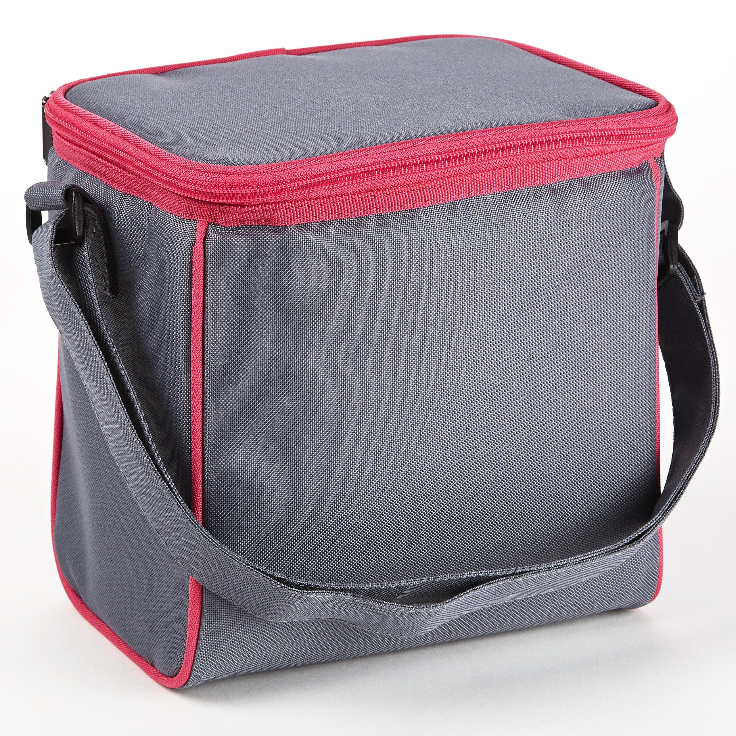 Fit & Fresh Insulated Baby Bottle Cooler Bag with Adjustable Shoulder Strap, 6 Bottle Capacity, Gray & Pink