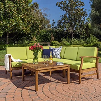 Capri Outdoor Patio Furniture Wood 6 Piece Chat Set With Water Resistant  Cushions