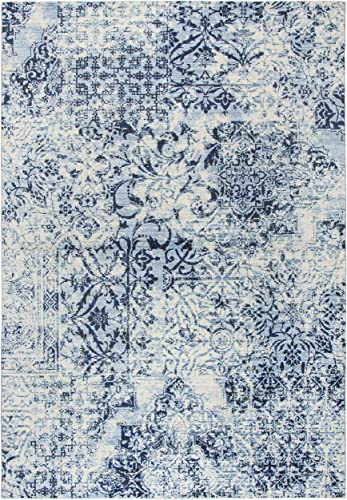 Rizzy Home Panache Collection Polypropylene Area Rug, 9 10 x 12 6 , Ivory Blue Dark Blue Distress Patch Work
