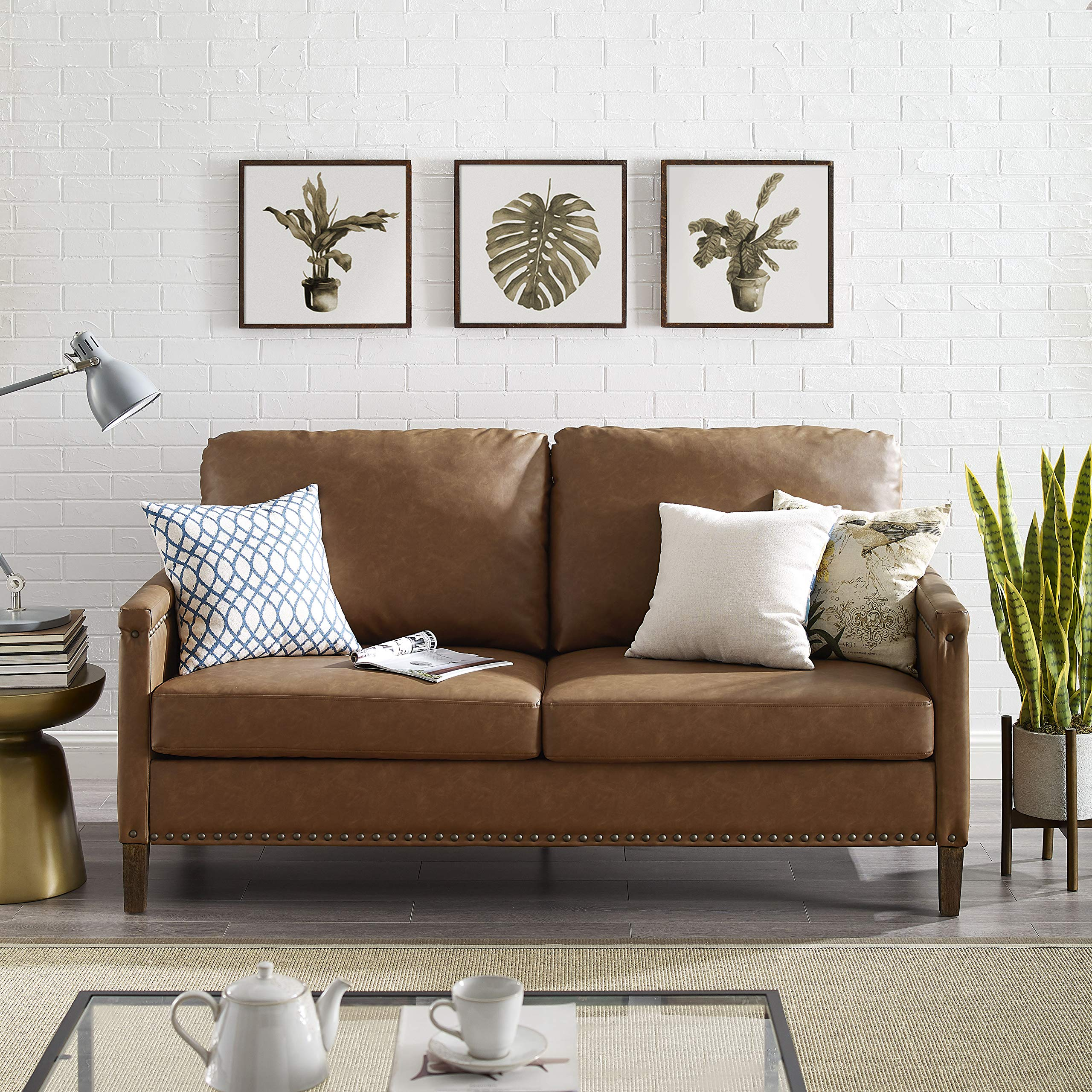 Elegant Apartment Upholstered Sofa with Nail Head Trim, Living Room, Office, Quality hardwood materials, Vintage Design, Seating for three, Sturdy design for long-lasting use, Brown color by Diversified Closet