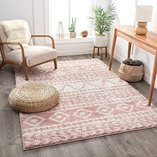 Well Woven Tribal Diamond Stripes Blush Pink Soft Shag Area Rug 8×10 7'10″x10'6″
