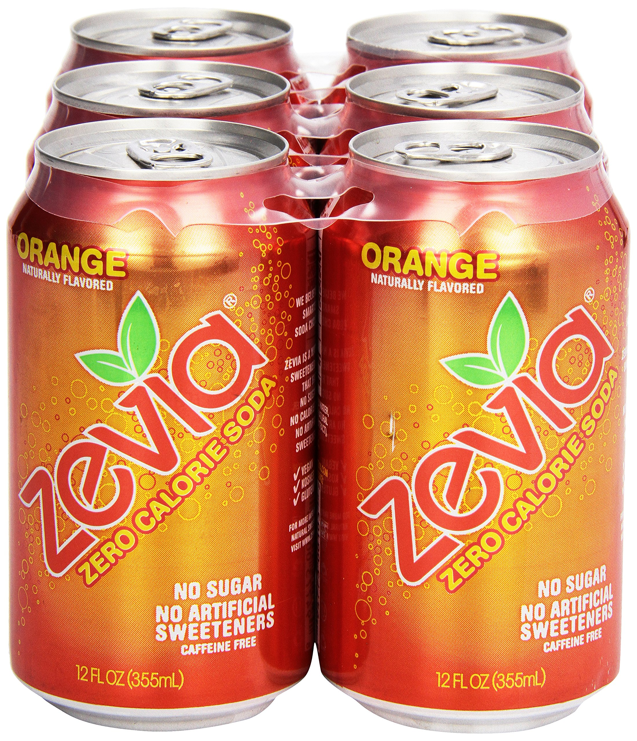 Zevia Natural Orange Soda, Sugar Free, 12 oz, 6 pack