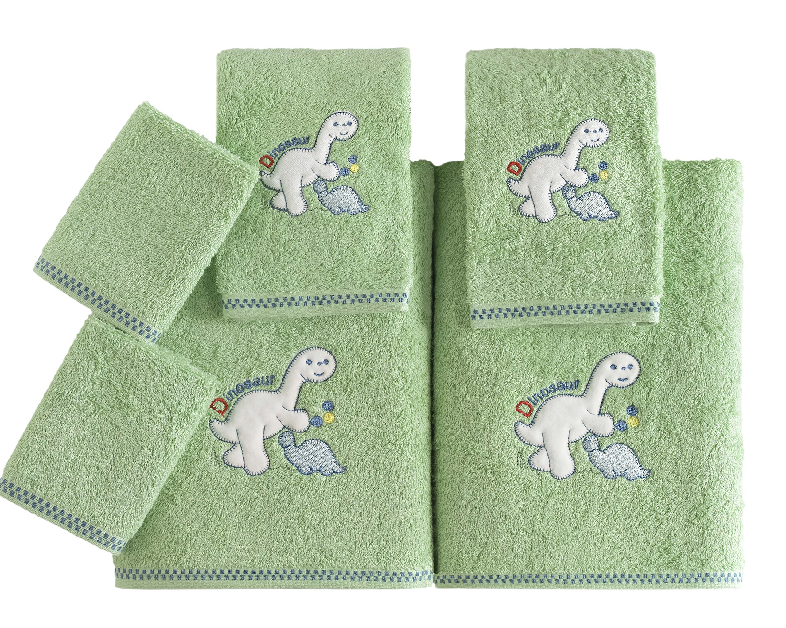 Kids Soft Premium Cotton Bath Towel Set - Made with 100% Pure Combed Cotton - 6 Piece Children Themed Set (Dinosaur Theme)
