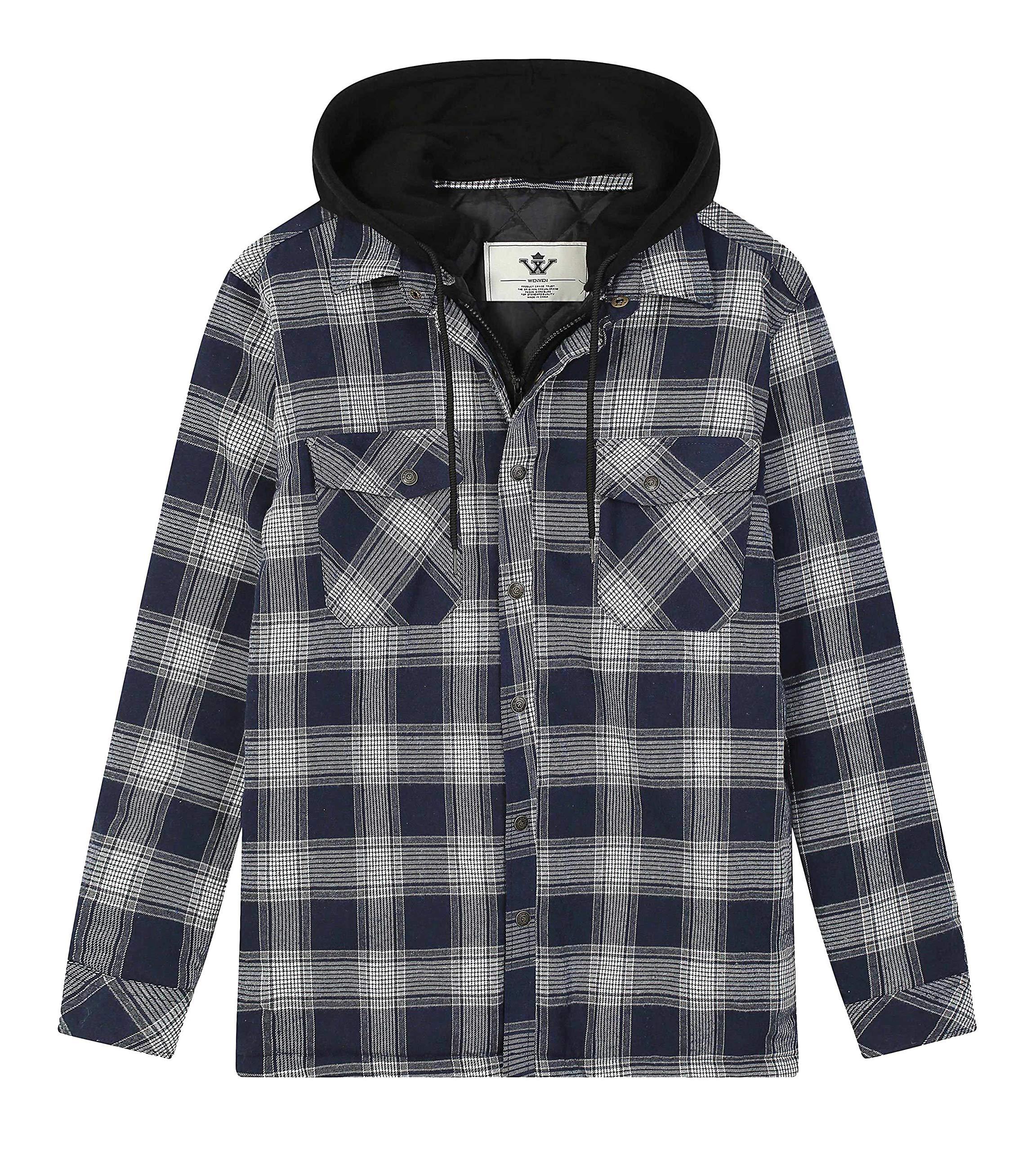 WenVen Men's Thicken Plaid Flannel Quilted Overshirt with Hood (L,Dark Blue) by WenVen